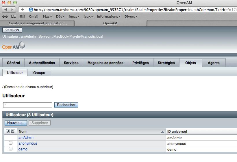 OpenAM - Configuration - step 2 - Objets