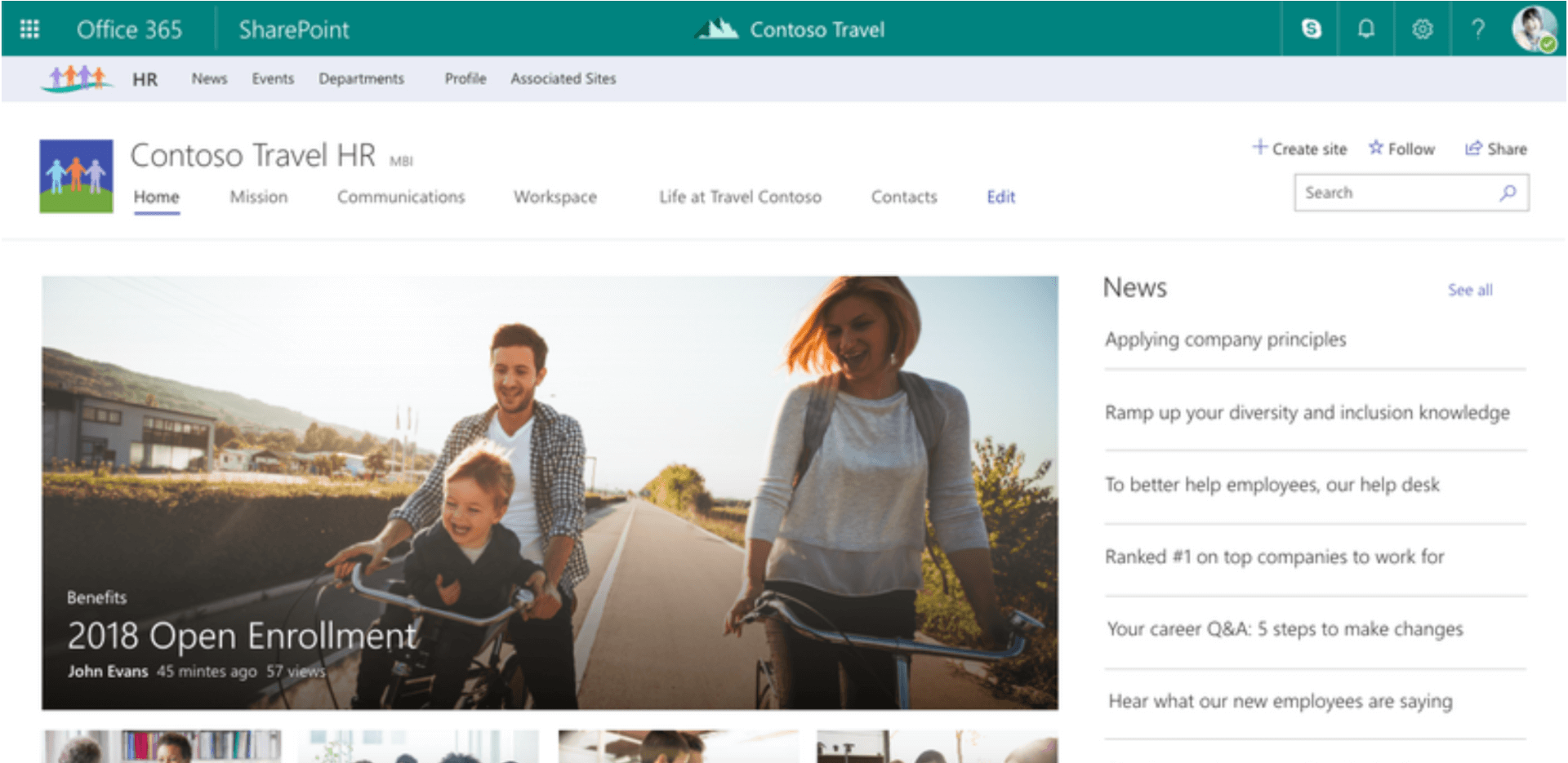 Office 365 SharePoint HR Contoso Travel HR tti 2018 Open Enrollmén€ tOSO Travel News Ramp up our Ranked •l cornpanies to for S Steps to what are