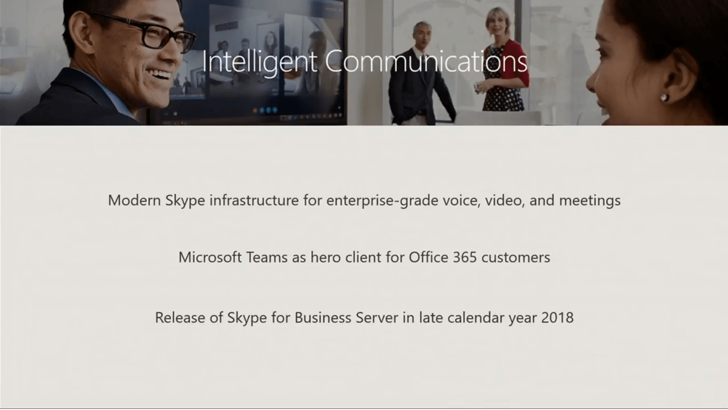 Texte de remplacement généré par une machine : lœtelIigentÇ m n•cat ons Modern Skype infrastructure for enterprise-grade voice, video, and meetings Microsoft Teams as hero client for Office 365 customers Release of Skype for Business Server in late calendar year 2018
