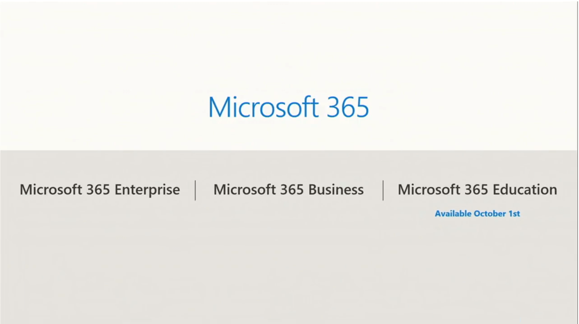 Texte de remplacement généré par une machine : Microsoft 365 Enterprise Microsoft 365 Microsoft 365 Business Microsoft 365 Education Available October Ist