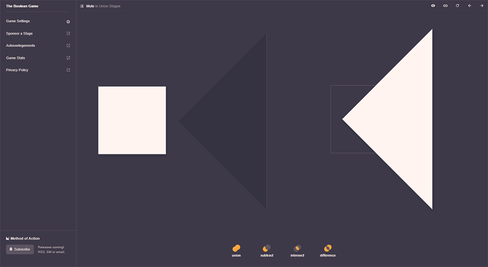 The Boolean Game - A puzzle game to learn about boolean operations in vector graphics