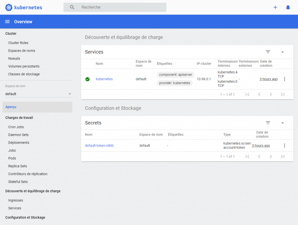 Ecran d'acceuil et apercu de l'application Kubernetes Dashboard