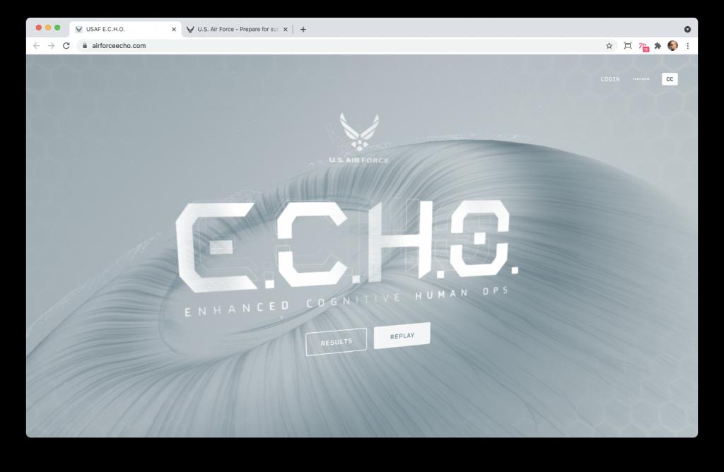 Screenshoot de la home page du site E.C.H.O.