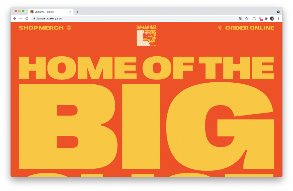 Screenshoot de la home page du site Lamanna's Bakery