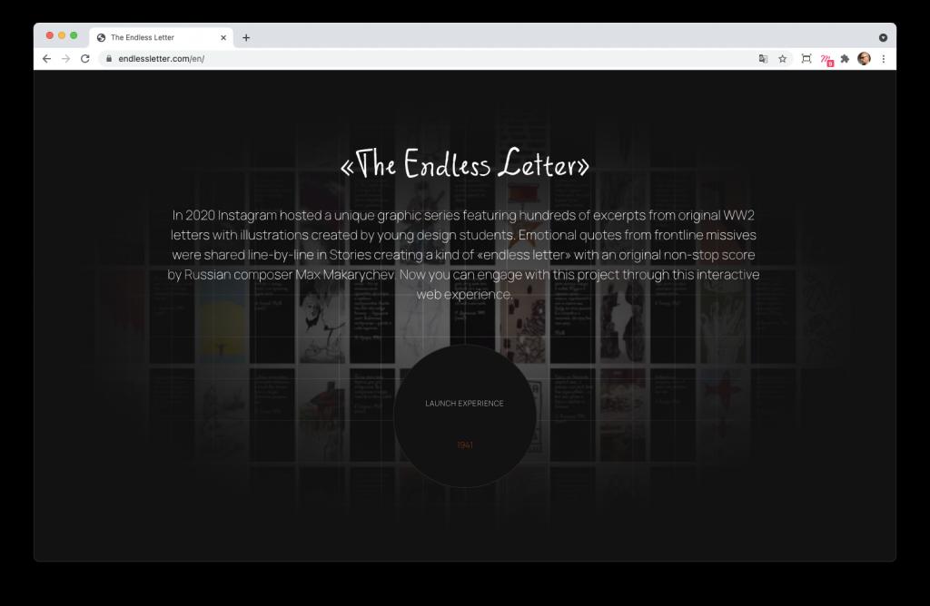 Screenshoot de la home page du site The endless letter
